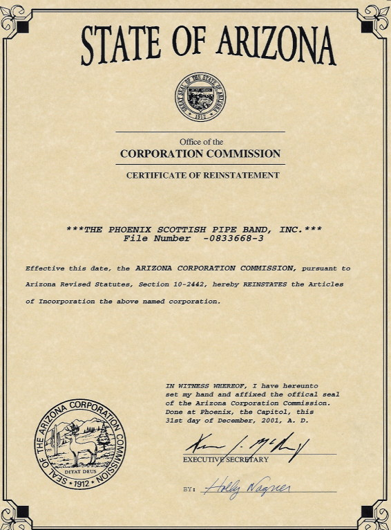 Arizona Corporation Commission Certificate